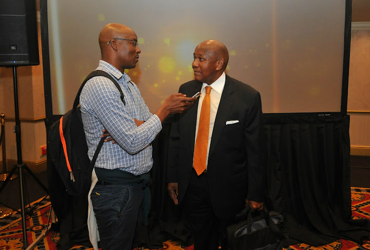 Kaizer Chiefs chairman Kaizer Motaung and Times Media senior sports writer Mahlatse Mphahlele during the PSL AGM seminar on 14 November 2019.