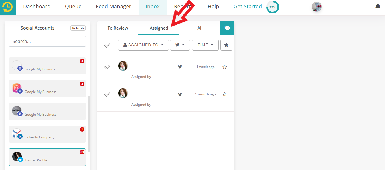 Assigned feature in social inbox by recurpost as best social media scheduling tool