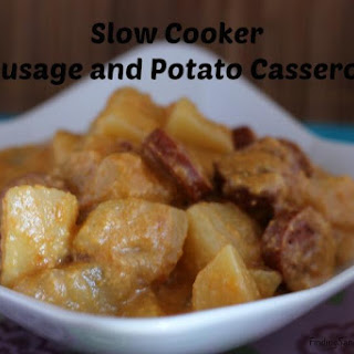 Slow Cooker Cheesy Sausage and Potato Casserole.