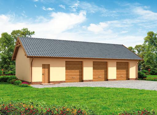 projekt G217 szkielet drewniany garaż trzystanowiskowy z pomieszczeniami gospodarczymi