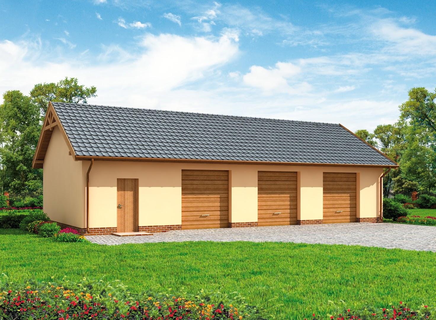 Projekt Garażu G217 Szkielet Drewniany Garaż Trzystanowiskowy Z