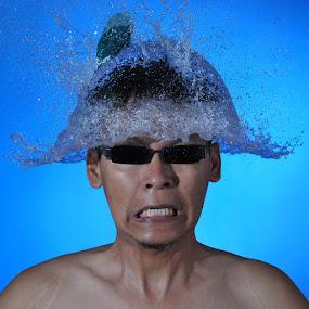Water Hat by Salahudin Damar Jaya - People Portraits of Men ( water, baloon, splash )