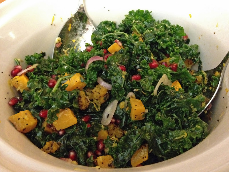 Photo: Kale salad with roasted poppy seed coated butternut squash, pomengranates, shallots, and lemon zest. (http://mynewroots.blogspot.com/2011/11/poppy-seed-crusted-butternut-squash.html) Fellow brunchers requested a little bit more to it for next time. Maybe some goat cheese, or a little proscuitto.