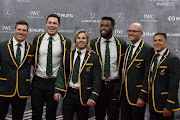 South Africa Men's Rugby Team poses on the red carpet prior to the 2020 Laureus World Sports Awards ceremony in Berlin on February 17, 2020.