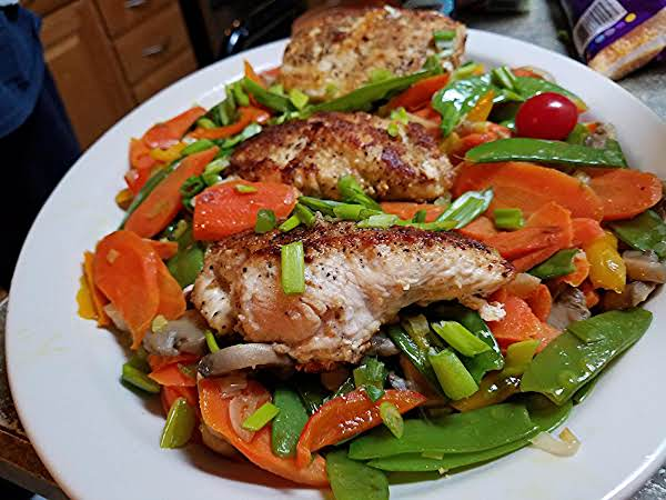 Pan Seared Chicken Breast With Stir Fry Vegetables Recipe Just A Pinch