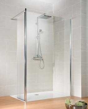 Paroi de douche fixe à l'italienne Walk In, 90, 100 ou 120 cm, Solo, avec élément pivotant