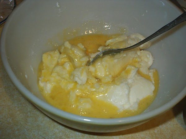 Combine cream cheese, sugar, and I scramble my eggs before adding, then mix together...