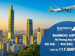 Bamboo Airways mở đường bay mới Hà Nội – Đài Bắc giá vé chỉ 177.000đ