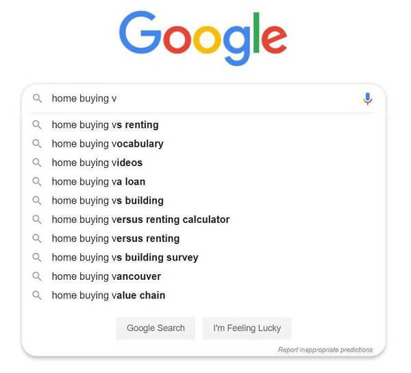 "Google suggestions for ""Home Buying V"" search"