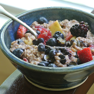 Chocolate-Cinnamon Oatmeal with Fresh Fruit.