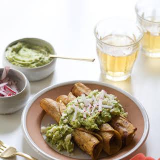 Crispy Chicken Taquitos with Avocado Crema.