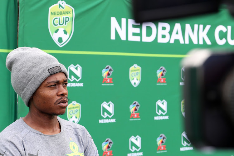 Bafana Bafana and Mamelodi Sundowns star forward Percy Tau speaks to the media during the Nedbank Cup media day at Chloorkop on Thursday April 19 2018.