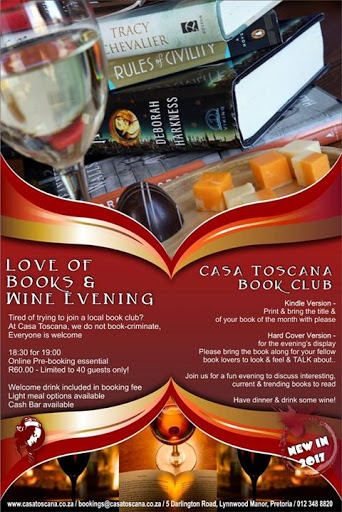 Love of Books & Wine evening #Booknow : Casa Toscana Lodge