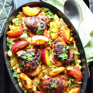 Cauliflower Bulgur Wheat Casserole with Honey Chicken and Peaches.