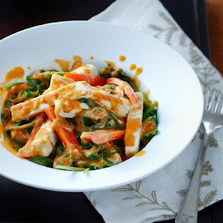 Spicy Peanut, Tofu and Spinach Stir-fry.