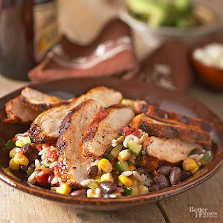 Spicy Grilled Chicken with Baja Black Beans and Rice.