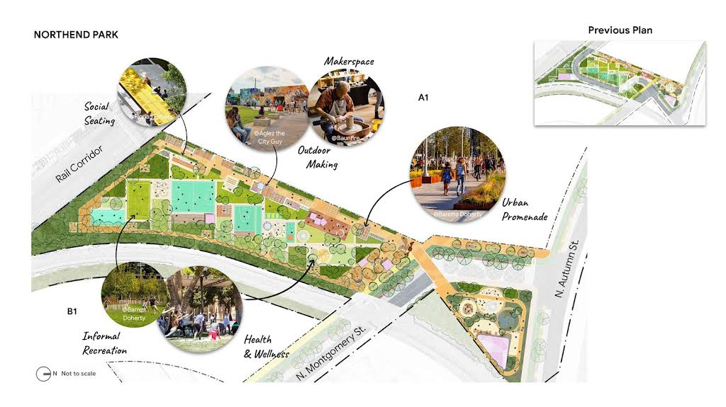 A zoomed-in diagram showing the new expanded features at the Northend Park.