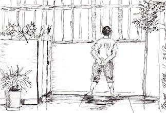 Photo: 想家2012.05.1鋼筆 六年高牆鐵窗間 望盡青山與藍天 時時思妻念幼女 男兒不堪相思難