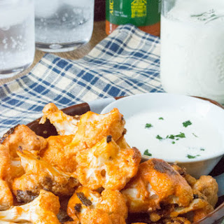 Oven Fried Buffalo Cauliflower Bites with Dairy Free Ranch Dressing