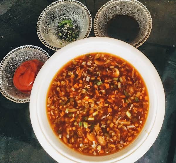 Healthy Hot And Sour Soup Recipe Serving With Soya Sauce,red Chilly Sauce And Vinegar Soaked Chilli