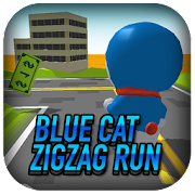 Blue Cat Robot Runner Zigzag