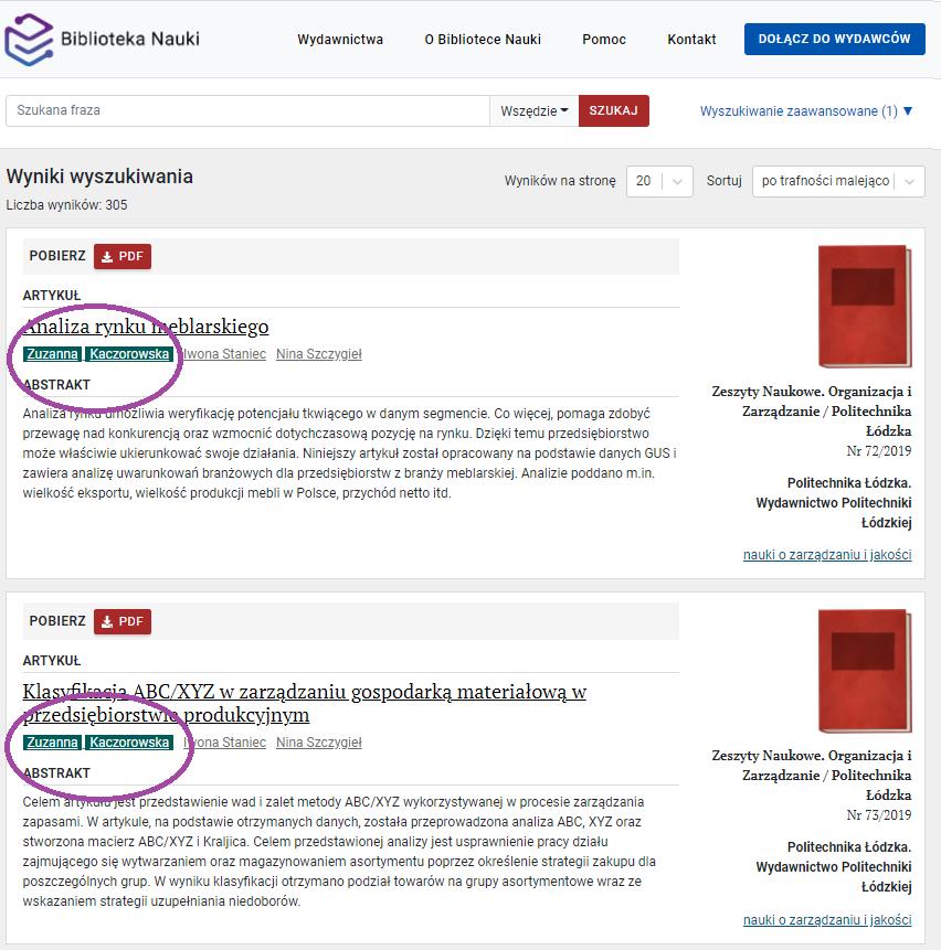 """Zrzut ekranu - widok wyników wyszukiwania z ustawionym filtrem """"kontrybutor""""."""