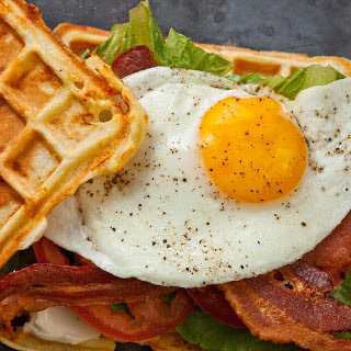 Savory Cheddar Waffle BLT with Egg