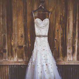 Wedding Dress on Wood by Matthew Chambers - Wedding Details ( love, dress, country, wedding dress, classic, vintage, wester, wood )
