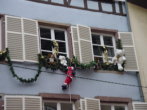 Photo: Many of the windows are decorated for the season.