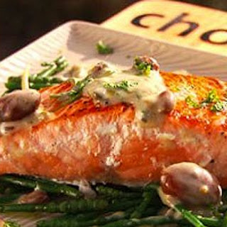 Salmon with Warm Olive Sauce.