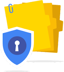 security badge over a stack of folders