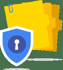 Badge de sécurité sur une pile de dossiers