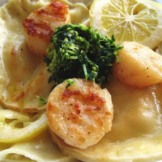 Crab Ravioli With Scallops and Gremolata.
