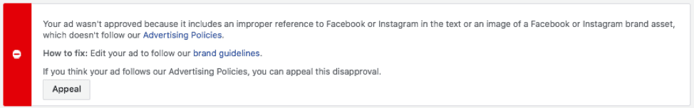 Facebook Ad Not Approved Notification