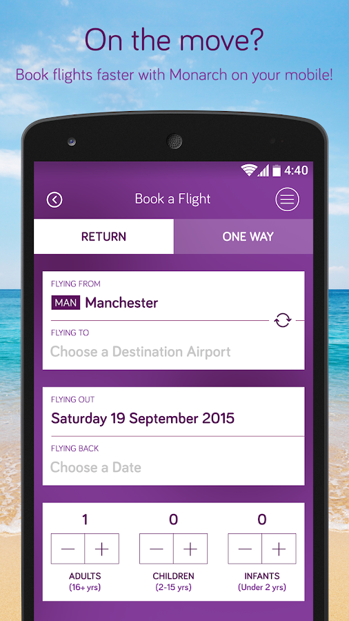 Monarch Airlines- screenshot
