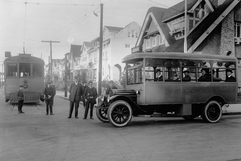 bus and streetcar with people