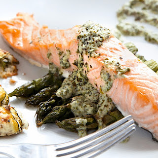 Grilled Salmon With Asparagus And Feta, And A Crème Fraîche Sauce.
