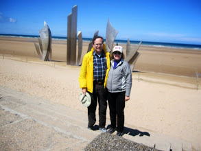 Photo: Michael and Sue at memorial sculpture