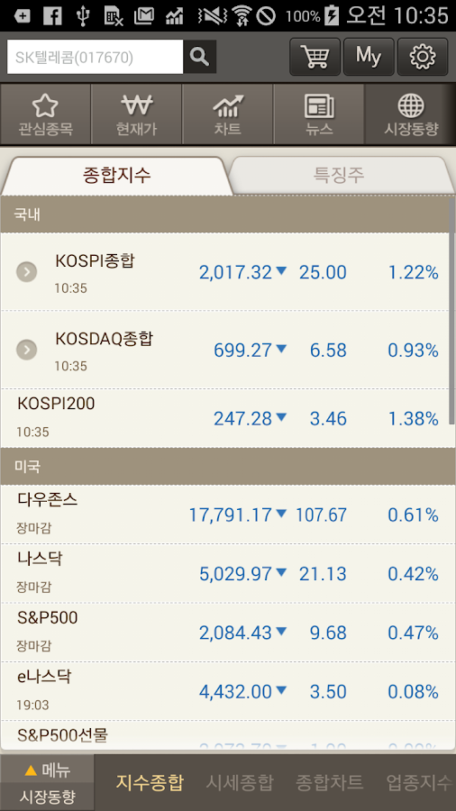 T stock – 주식증권 시세조회는 티스탁- screenshot