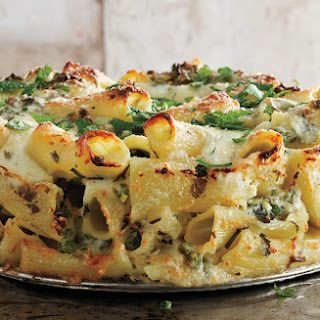 Paccheri and Cheese with Peas and Mint.