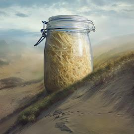 Pasta by Dariusz Klimczak - Digital Art Things ( surreal, glass, color, photomanipulation, mist, square, sand, dunes, light, grass, pasta, jar, desert, klimczak, kwadrart, fog )