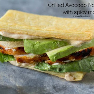 Grilled Chicken and Avocado Napoleons.