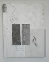 Photo: DUALITY: INESCAPABLE BUT JUST A COMPLICATION 48X39 mixed media: vellum, calligraphy, wire, bark, oil absorbing car pads