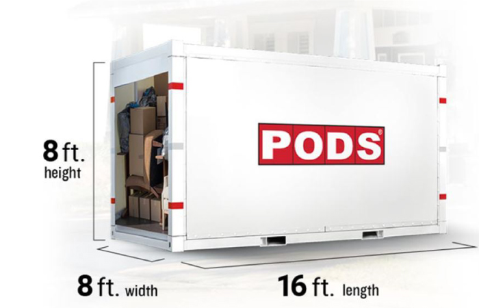 Dimensions of a PODS container