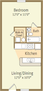Go to Studio, One Bath Spicewood Floorplan page.