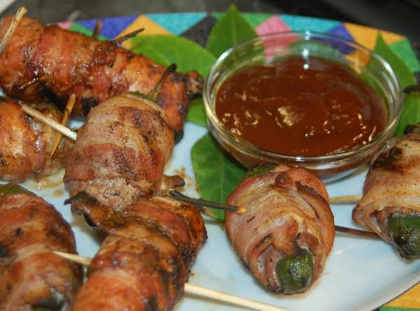 Grilled Bacon Wrapped Pork Poppers