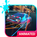 Street Race Animated Keyboard + Live Wallpaper icon