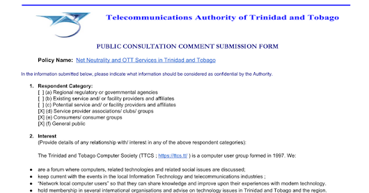 "TTCS draft comments on TATT ""Net Neutrality and OTT services in Trinidad and Tobago"""