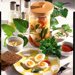 Pickled Eggs with Three Sauces.