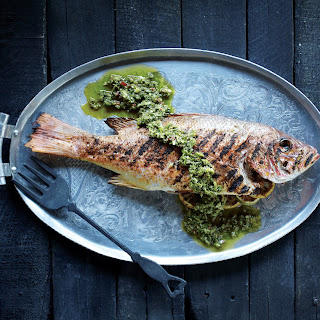 Grilled Red Snapper with Green Harissa Sauce.